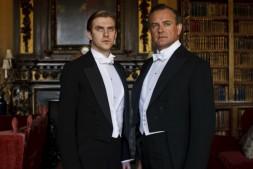 Dan Stevens as Matthew Crawley and Hugh Bonneville as Robert Crawley, Earl of Grantham in Downton Abbey