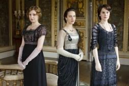 Laura Carmichael as Lady Edith Crawley, Jessica Brown Findlay as Lady Sybil Crawley and Michelle Dockery as Lady Mary Crawley in Downton Abbey