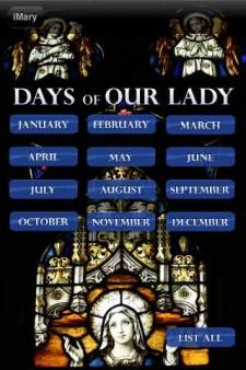 iMary Mobile App Calendar Page