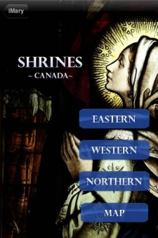 iMary Mobile App Shrines Page