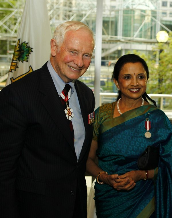 Queen Elizabeth II Diamond Jubilee Medal recipient Lata Pada with Governor General David Johnston