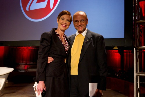 ZoomerLIfe Conference 2011 - Presenter and ZoomerRadio VP of News and Information Libby Znaimer with ZoomerMedia Limited Founder Moses Znaimer