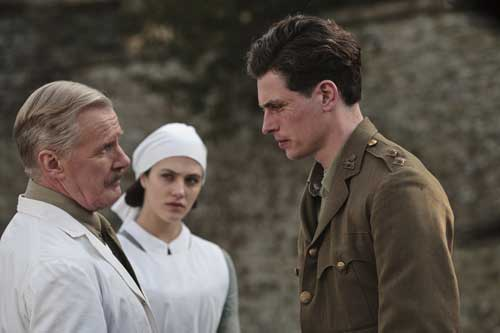 Downton Abbey S2E2: Dr. Clarkson (David Robb), Lady Sybil (Jessica Brown Findlay) and Lt. Edward Courtenay (Lachlan Nieboer)