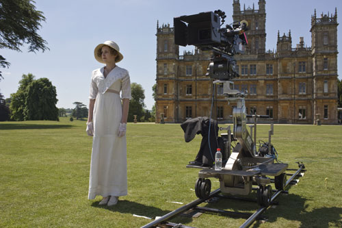 DAS1 BTS: Laura Carmichael in position for an exterior scene