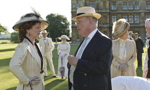 DAS1 BTS: Samantha Bond (Lady Rosamund Painswick) chats with Downton Abbey Creator/Writer Julian Fellowes