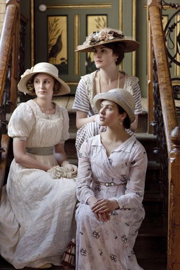 DAS1 CAST: Laura Carmichael, Michelle Dockery and Jessica Brown Findlay as Lady Edith, Lady Mary and Lady Sybil Crawley