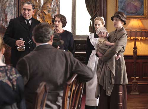 Downton Abbey S2E6: Ethel interrupts luncheon to show baby Charlie to the Bryants