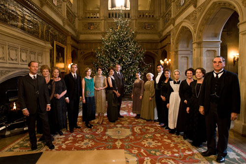 Downton Abbey S2E7: The Crawleys and staff at Christmas time