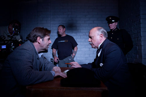 DAS3E4: BTS - Brendan Coyle films consultation scene with the Crawley family lawyer, George Murray (Jonathan Coy)