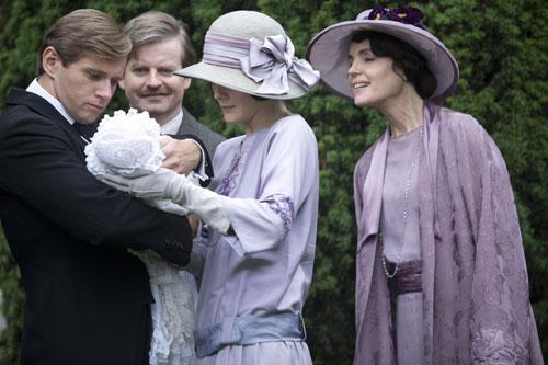 DAS3E6: Tom, Kieran, Cora and Mary at baby Sybil's christening
