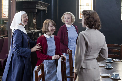 Call the Midwife: Sister Julienne (Jenny Agutter), Cynthia Miller (Bryony Hannah), Trixie Franklin (Helen George) and Jenny Lee (Jessica Raine) Photo: John Rogers (c) Neal Street Productions