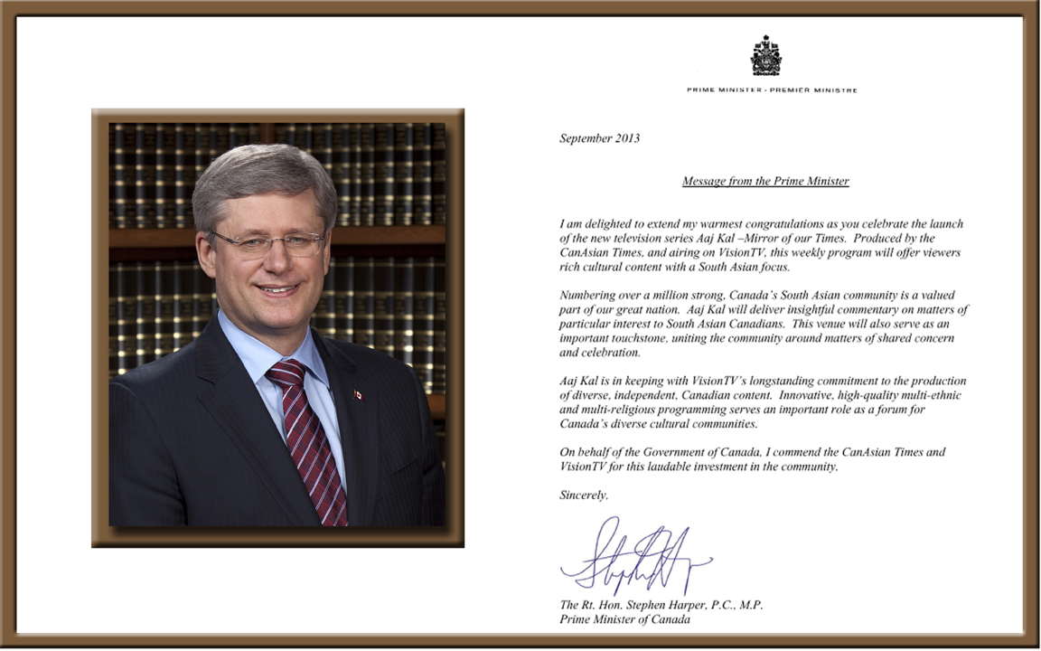 PM Stephen Harpers Message to VisionTV