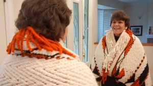 Ecstatic: Gail Sparrow smiles in mirror