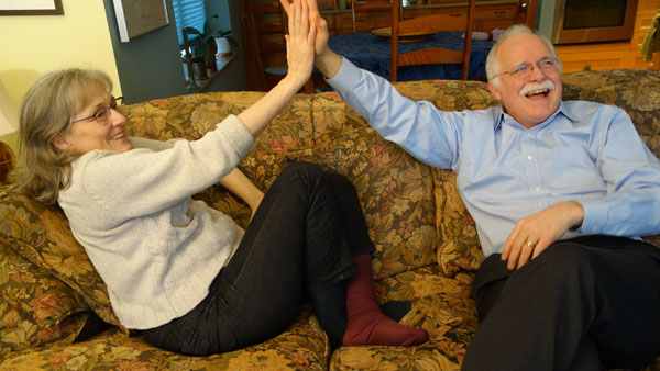 Ecstatic: Tom Cooper and his wife high five
