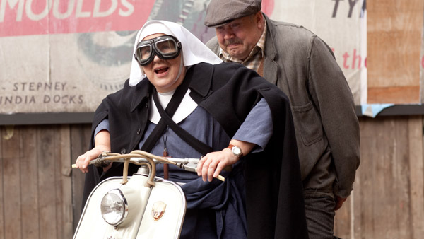 Call the Midwife S2E9: Sister Evangelina (PAM FERRIS) and Fred (CLIFF PARISI) Photo: Laurence Cendrowicz (c) Neal Street Productions 2012