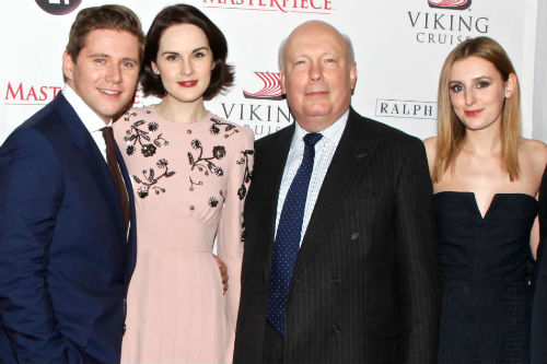 Allen Leech, Michelle Dockery, Julian Fellowes, Laura Carmichael Photo: Gregory Pace/BEImages/Keystone Press