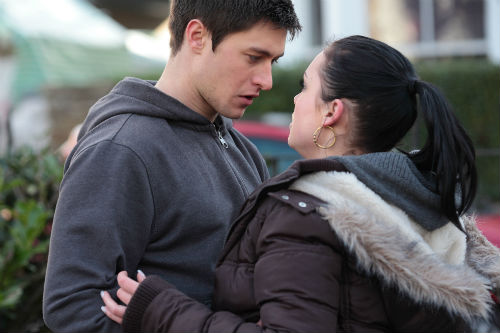 EastEnders Weeknder Feb. 14: Tyler Moon (TONY DISCIPLINE), Whitney Dean (SHONA MCGARTY) Photo: Adam Pensotti ©BBC 2012