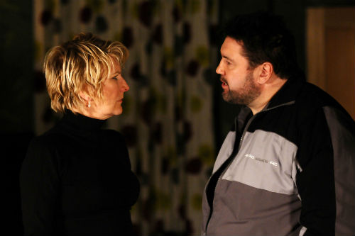 EastEnders Weekender Feb. 14: Shirley Carter (LINDA HENRY), Andrew Cotton (RICKY GROVER) Photo: Kieron McCarron ©BBC 2012