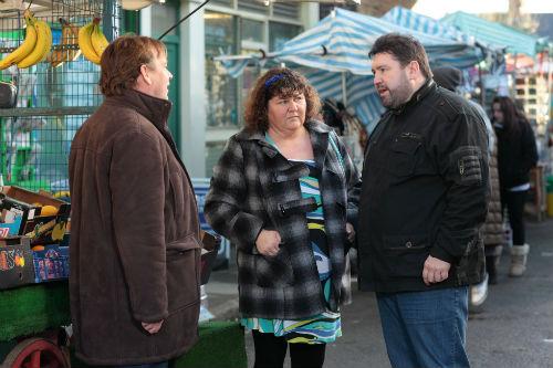 EastEnders Weekender, Feb. 7: Ian Beale (ADAM WOODYATT), Heather Trott (CHERYL FERGISON), Andrew Cotton (RICKY GROVER) Photo: Adam Pensotti ©BBC 2011