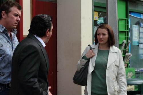 EastEnders Weekender Apr. 18: Alfie Moon (SHANE RICHIE), Derek Branning (JAMIE FOREMAN), Alice (JASMYN BANKS) Photo: Kieron McCarron ©BBC 2012