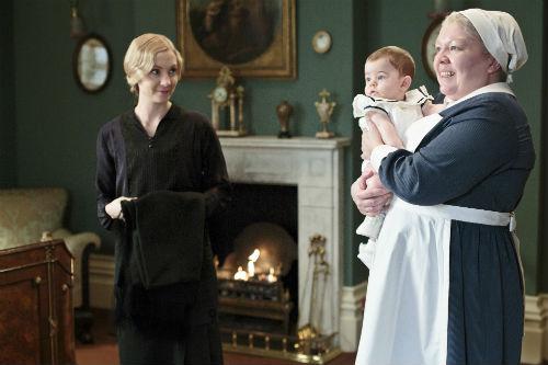 Downton Abbey S4E1: Anna Bates (JOANNE FROGGATT), George Crawley, Nanny West (DI BOTCHER)