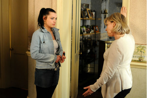 EastEnders Weekender Apr. 18: Whitney Dean (SHONA MCGARTY), Carol Jackson (LINDSEY COULSON) Photo: Kieron McCarron ©BBC 2012