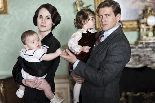 Downton Abbey Cast S4: George Crawley, Lady Mary Crawley (MICHELLE DOCKERY), Sybbie, Tom Branson (ALLEN LEECH)