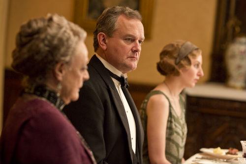 Downton Abbey S4E2: Violet Crawley (MAGGIE SMITH), Robert Crawley (HUGH BONNEVILLE), Edith Crawley (LAURA CARMICHAEL)