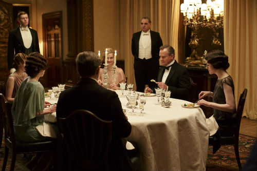 Downton Abbey Recap S4E4: Alfred Nugent (MATT MILNE), Edith Crawley (LAURA CARMICHAEL), Cora Crawley (ELIZABETH MCGOVERN), Tom Branson (ALLEN LEECH), Rose MacClare (LILY JAMES), Mr. Carson (JIM CARTER), Robert Crawley (HUGH BONNEVILLE), Mary Crawley (MICHELLE DOCKERY)