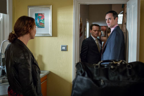 EastEnders Weekender: Janine Moon (CHARLIE BROOKS), Billy Mitchell (PERRY FENWICK), Michael Moon (STEVE JOHN SHEPHERD) Photo: Guy Levy © BBC 2013