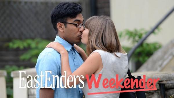 EastEnders Weekender (March 20 & 21, 2015): Tamwar Masood (HIMESH PATEL), Alice Branning (JASMYN BANKS) Photo: Kieron McCarron (c) BBC 2013