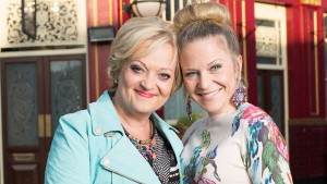 EastEnders (Set 283) Jan. 2016: Linda Carter (KELLIE BRIGHT), Elaine (MARIA FRIEDMAN) Photo: Jack Barnes (c) BBC 2014