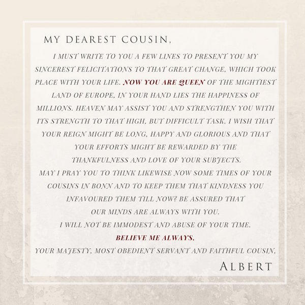 Prince Albert Letter - Victoria