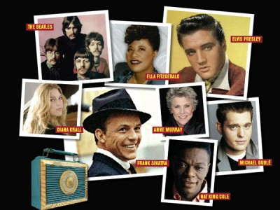 Photo Montage of The Beatles, Ella Fitzgerald, Elvis Preseley, Diana Krall, Frank Sintara, Anna Murray, Michael Bubble and Old Nat King Cole
