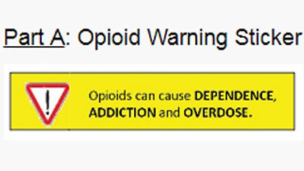 Opioid Warning Sticker