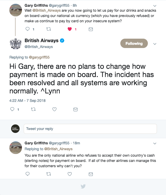 Snippet from @British_Airways and @garygriff55