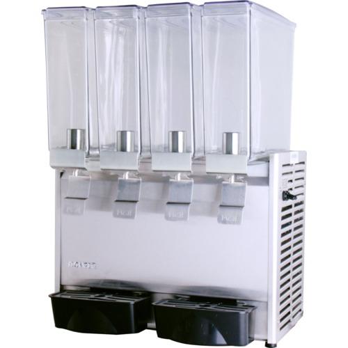 Refresquera refrigerada con 4 tanques plásticos de 8 litros, sistema de spray, paneles en acero inoxidable, bandejas de goteo plásticas
