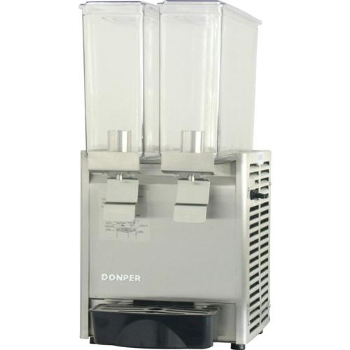 Refresquera refrigerada con 2 tanques plásticos de 8 litros, sistema de spray, paneles en acero inoxidable, bandejas de goteo plásticas
