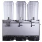 Refresquera refrigerada con 3 tanques plásticos de 18 litros, sistema de spray, paneles en acero inoxidable, bandeja de goteo en plástico