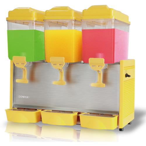 Refresquera refrigerada con 3 tanques plásticos de 12 litros, sistema de spray