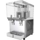 Refresquera refrigerada con 2 tanques plásticos de 16 litros, sistema de agitación, paneles en acero inoxidable, bandejas de goteo plásticas