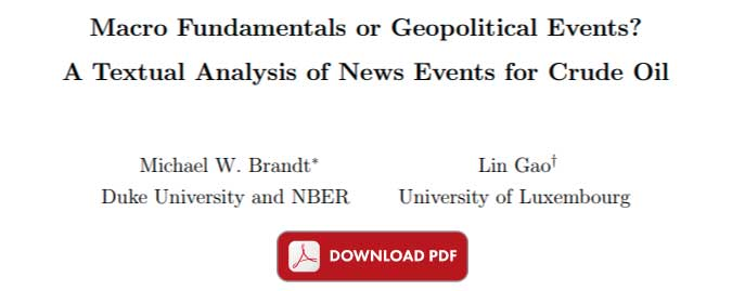 Textual Analysis of News Events for Crude Oil