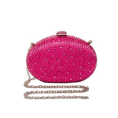 Clutch Oval Brilho Pink Isla