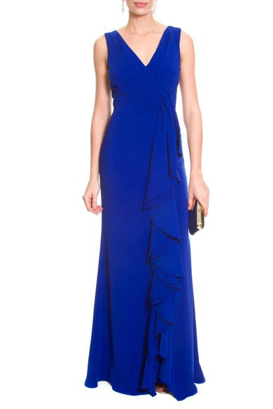 Vestido Babado Blue Badgley Mischka