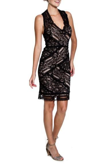 Vestido Black Lace Curto Nicole Miller