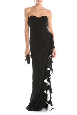 Vestido Drap Babado Black