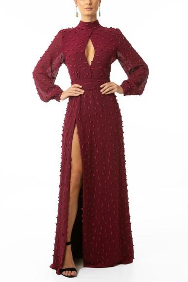Vestido Nune Marsala Fernanda Ávila