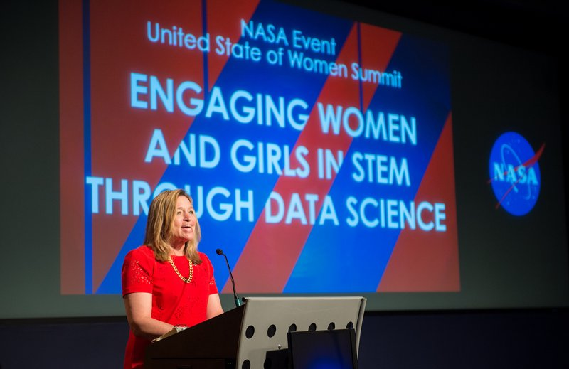 NASA Chief Scientist Dr. Ellen Stofan giving keynote speech at NASA's White House United State of Women Summit event. Photo Credit: NASA/Aubrey Gemignani