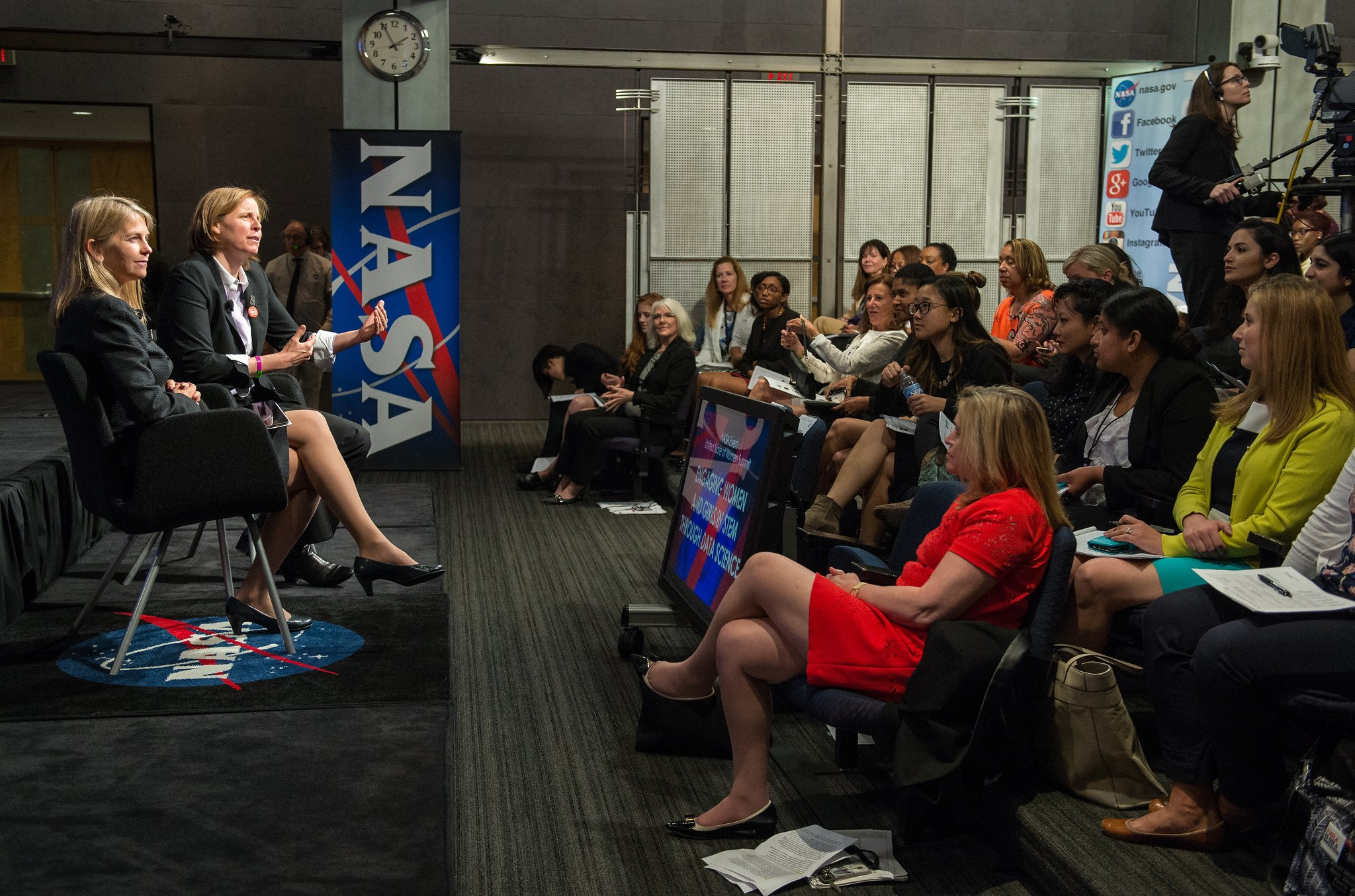 NASA's Deputy Dr. Dava Newman and USCTO Megan Smith addressing participants at NASA's White House United State of Women Summit event. Photo Credit: NASA/Aubrey Gemignani