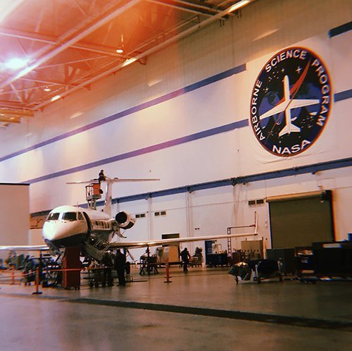 Inside the NASA Armstrong aircraft hangar.